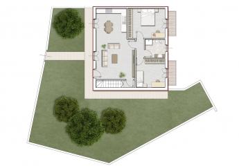 Quadrilocale con giardino di proprietà, cantina e garage