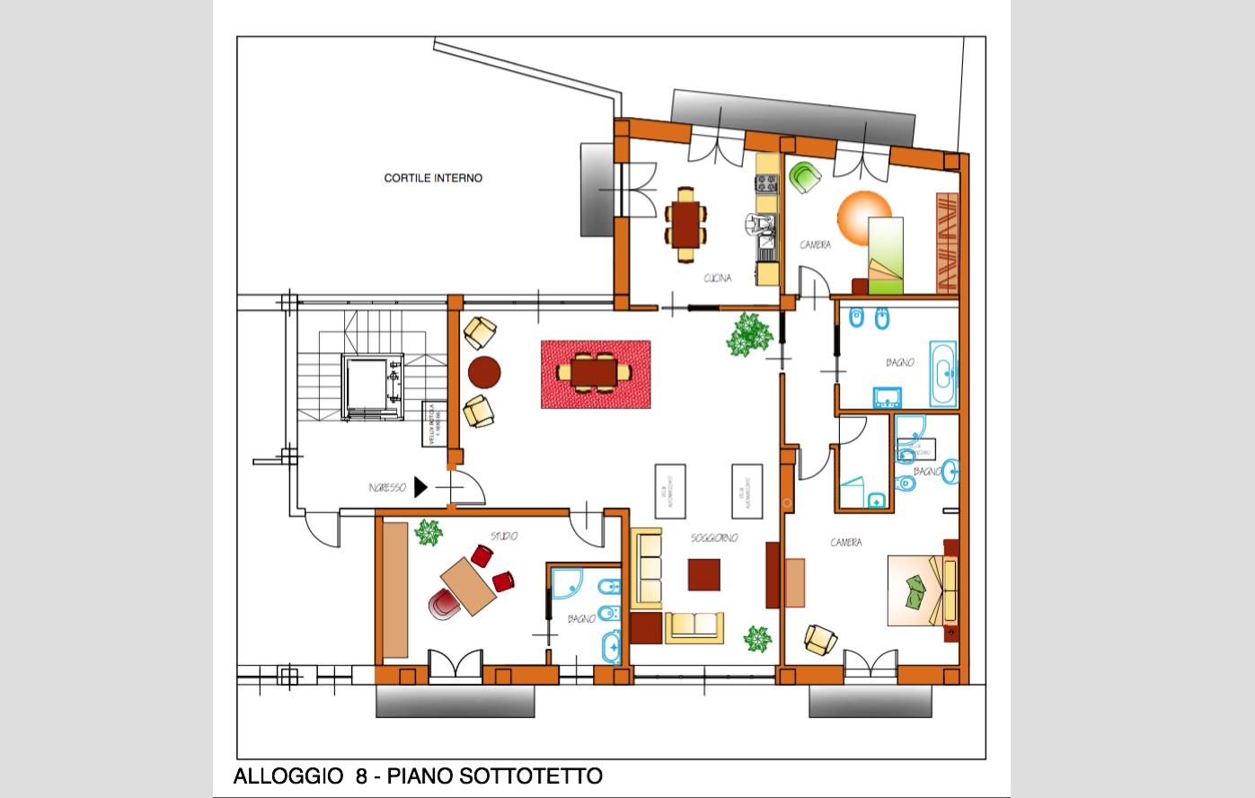 Appartamento cinque locali con due Bagni e studio a Caluso