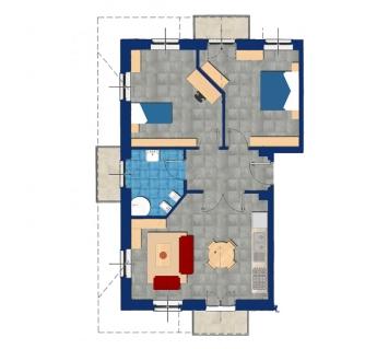 Mansarda trilocale secondo piano con 2 ampie camere, 1 bagno, garage e cantina.