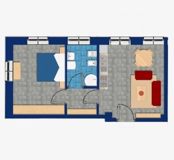 Bilocale con 2 camere, 1 bagno, garage e cantina