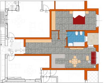 Bilocale 70 mq con ampio living e garage