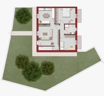 Quadrilocale 90mq con area verde di proprietà, cantina e garage.