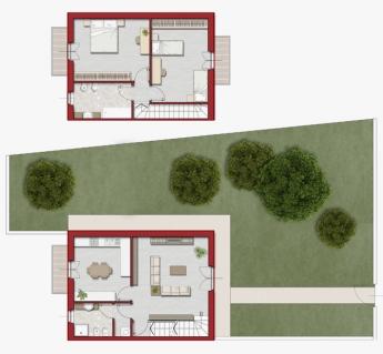 Quadrilocale con giardino, cantina e garage su due piani 123mq