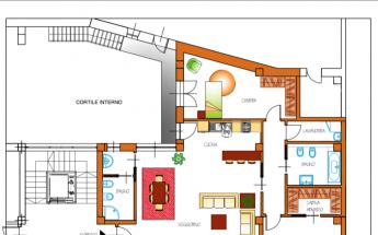 Appartamento quadrilocale con due Bagni e soggiorno doppio a Caluso